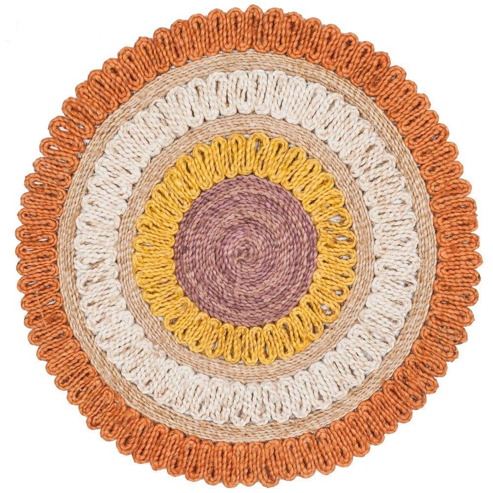 5 Solid Woven Round Area Rug Orange Safavieh Size 5 Round
