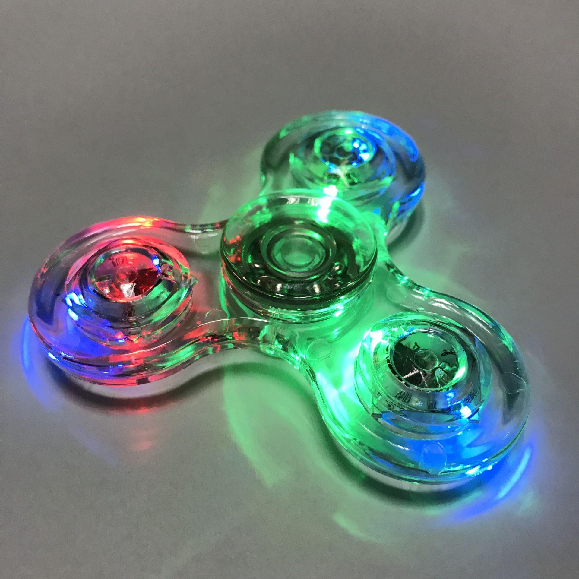 New Tri Spinner Transparent LED Light Spinner Crystal Plastic EDC