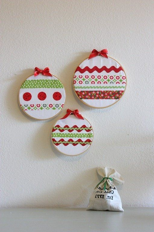 15 manualidades navide as f ciles de papel madera lana o - Manualidades de navidad en tela ...