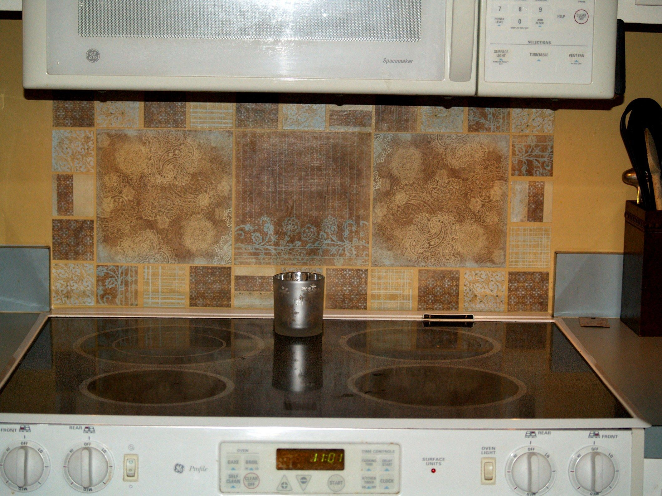 Faux Tile Back Splash Using Sbook Paper And Mod Podge My Own Creation