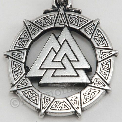 Norse Thor Celtic symbol of Odin Viking Pewter Pendant Large Valknut