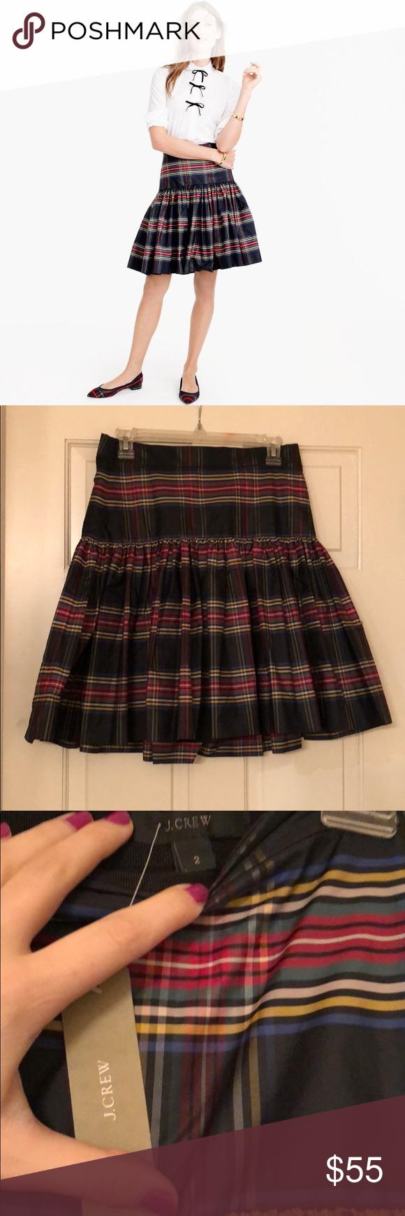 J. Crew skirt J. Crew taffeta, holiday plaid, drop-waist skirt. J. Crew Skirts
