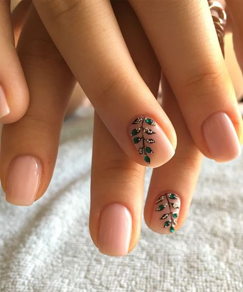 Here Comes The Bride With Some Awesome Nails: Pretty Leaf Branch Nail Art Designs 2018 For Girls