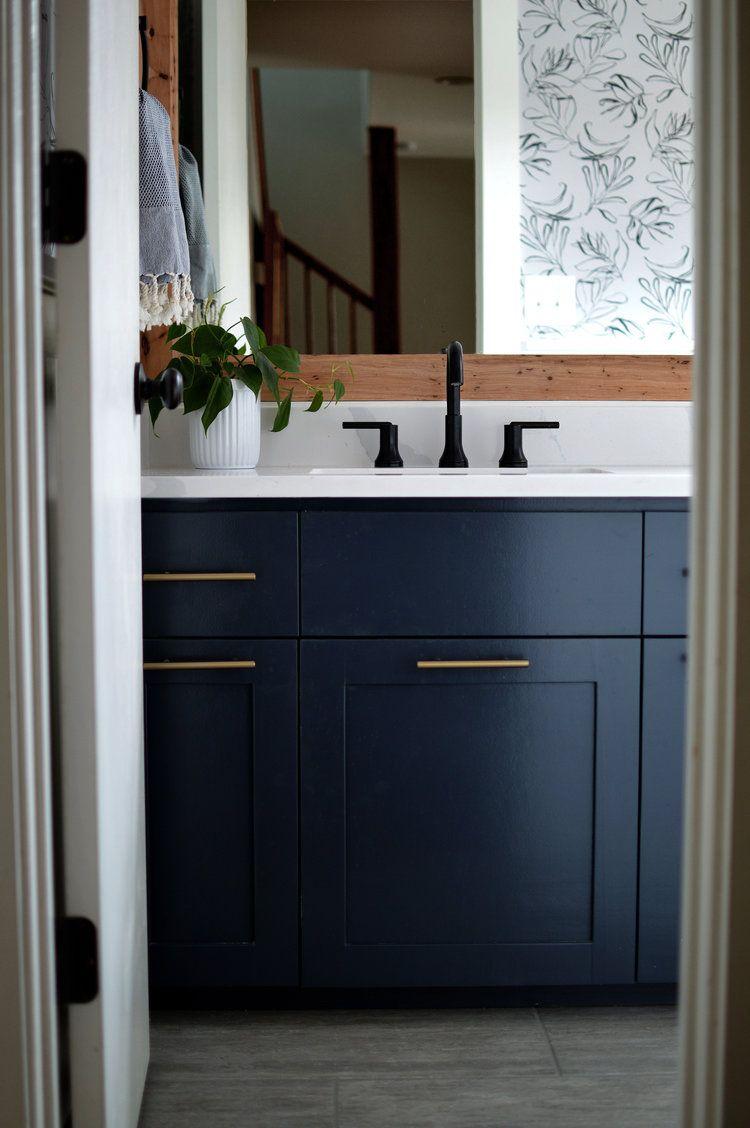 Benjamin Moore Hale Navy Cabinet Bathroom Remodel #halenavybenjaminmoore