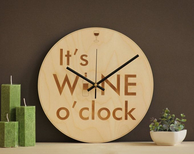 It\'s wine o\'clock / Wine clock / Wine lovers gift / Wine gifts ...
