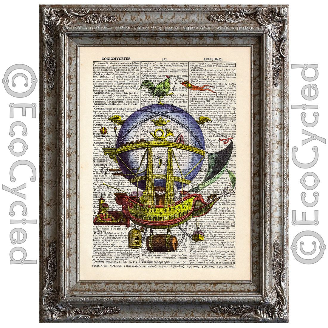 New to EcoCycled on Etsy: Hot Air Balloon 2 on Vintage Upcycled Dictionary Art Print Book Art Print Balloons Flying Machines Aeronautical Ship (10.00 USD)