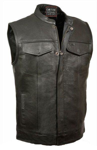 Club Vest Buffalo Leather Motorcycle Vest Dual Gun Pockets