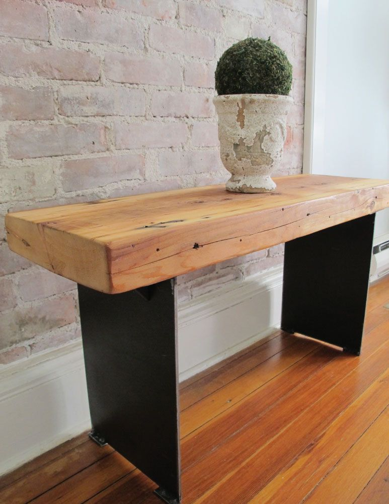 Wood Entry Bench With Steel Plate Legs Reclaimed Wood From Nyc