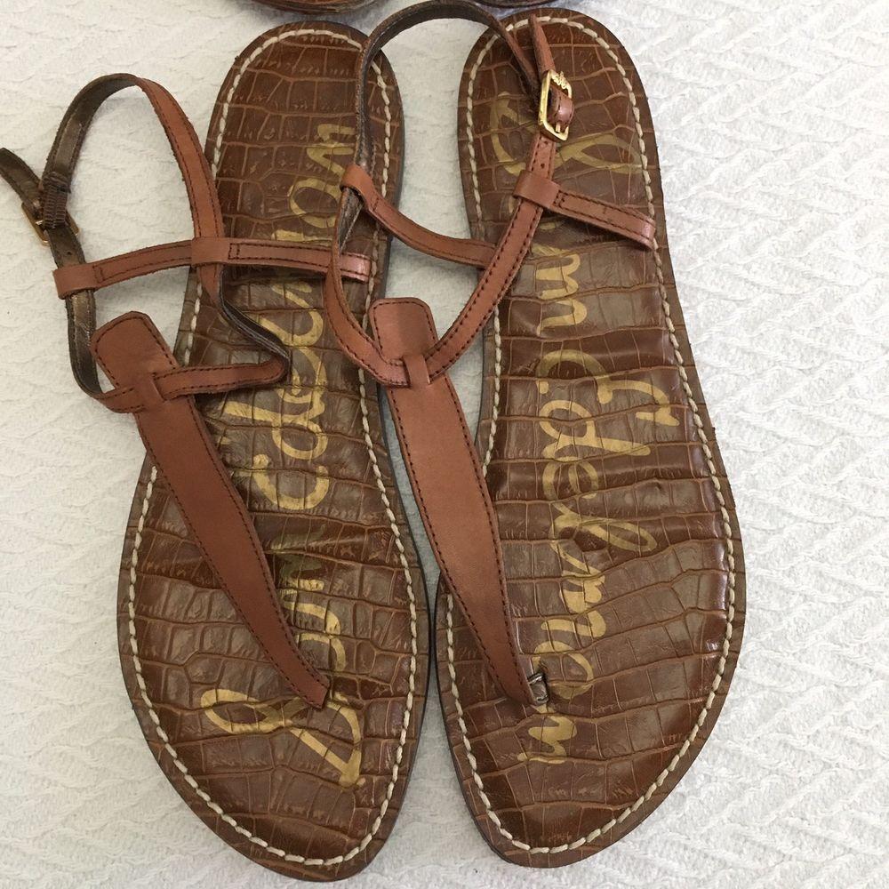 c83bdd742 NWOB Sam Edelman Gigi Brown Leather T-Strap Flat Sandals Thong Sz 10 New   fashion  clothing  shoes  accessories  womensshoes  sandals (ebay link)