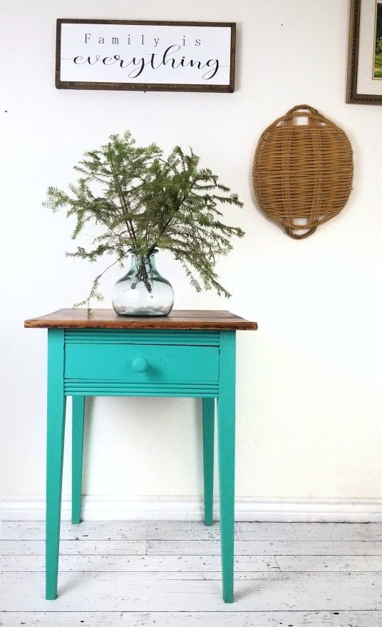Antique table for sale. Painted in Wise Owl paint. #wiseowlpaint #wiseowlpaintcanada #furnituremakeover #furniture #furnituredesign #artist #canada #homedecor #paint #furniturepainter #restyle #distressedfurniture #diy #doityourselfproject #farmhouse #vintagefurniture #creative #paintedfurniture #ontario #tealtable #antique
