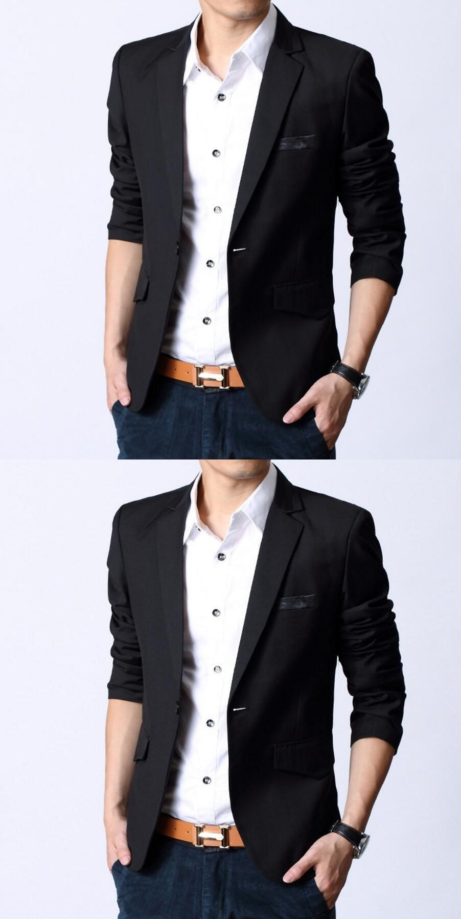 551521683d5 Fashion Korean Slim Fit Man Suit Jacket Men s Clothing Slim Style Suits  Jean Black Business Sweatshirt High Quality