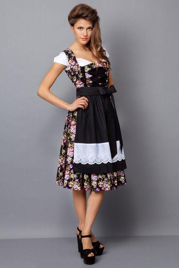 #Farbbberatung #Stilberatung #Farbenreich mit www.farben-reich.com JANINA Trachten  BW Dirndl flower bouqet schwarz/schwarz