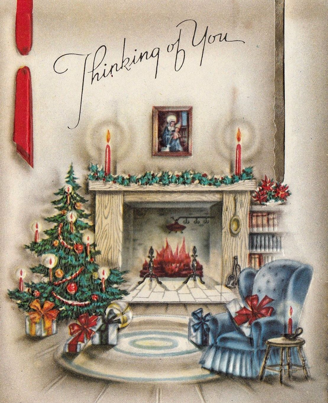 Beautiful vintage christmas cards pinterest vintage vintage arm chair by fireplace yuletide greeting card kristyandbryce Choice Image