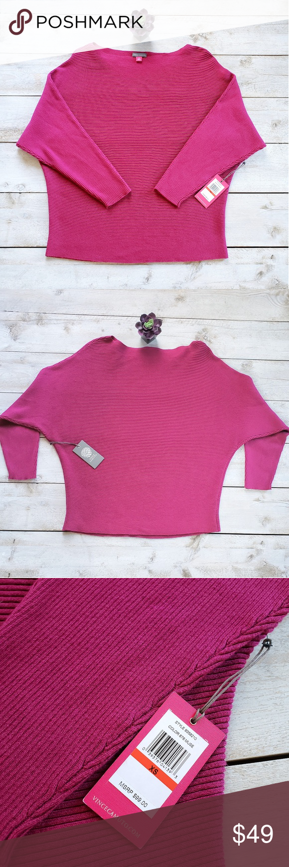0978edd8859 Vince Camuto Dolman Sleeve Boatneck Sweater NWT color 876muse size xs  ribbed dolman sleeve boat neck