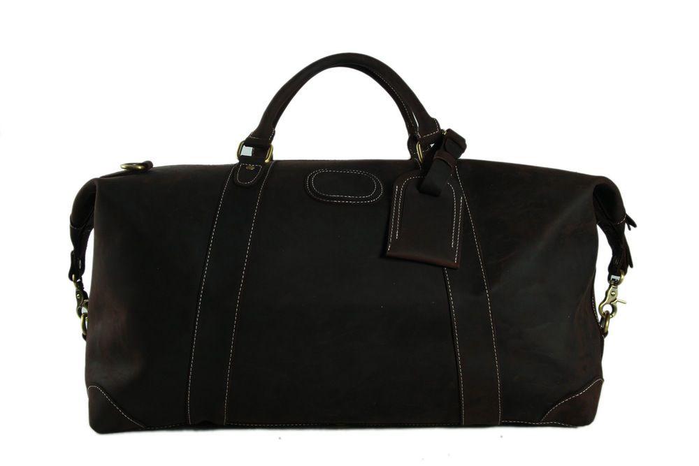 cf55777b7d Handmade Vintage Genuine Cowhide Leather Travel Bag