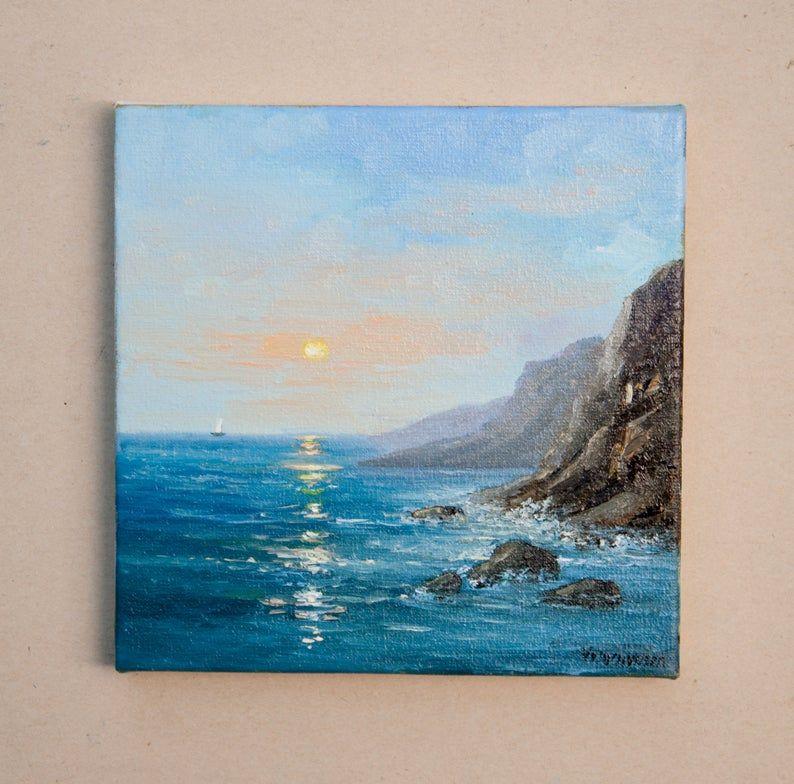 Sea Landscape Oil Painting Original Small Art Little Artwork On Canvas Water Mountains Cliff Beach Fine Art Nature Blue Sky Miniature 6 X 6 Pinakes Zwgrafikhs Zwgrafikh Empneysh