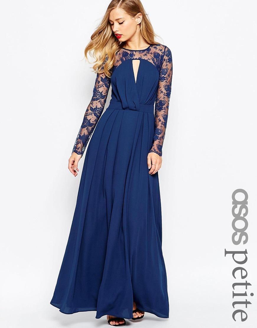 ASOS Petite | ASOS PETITE Kate Lace Maxi Dress with Long Sleeves at ...