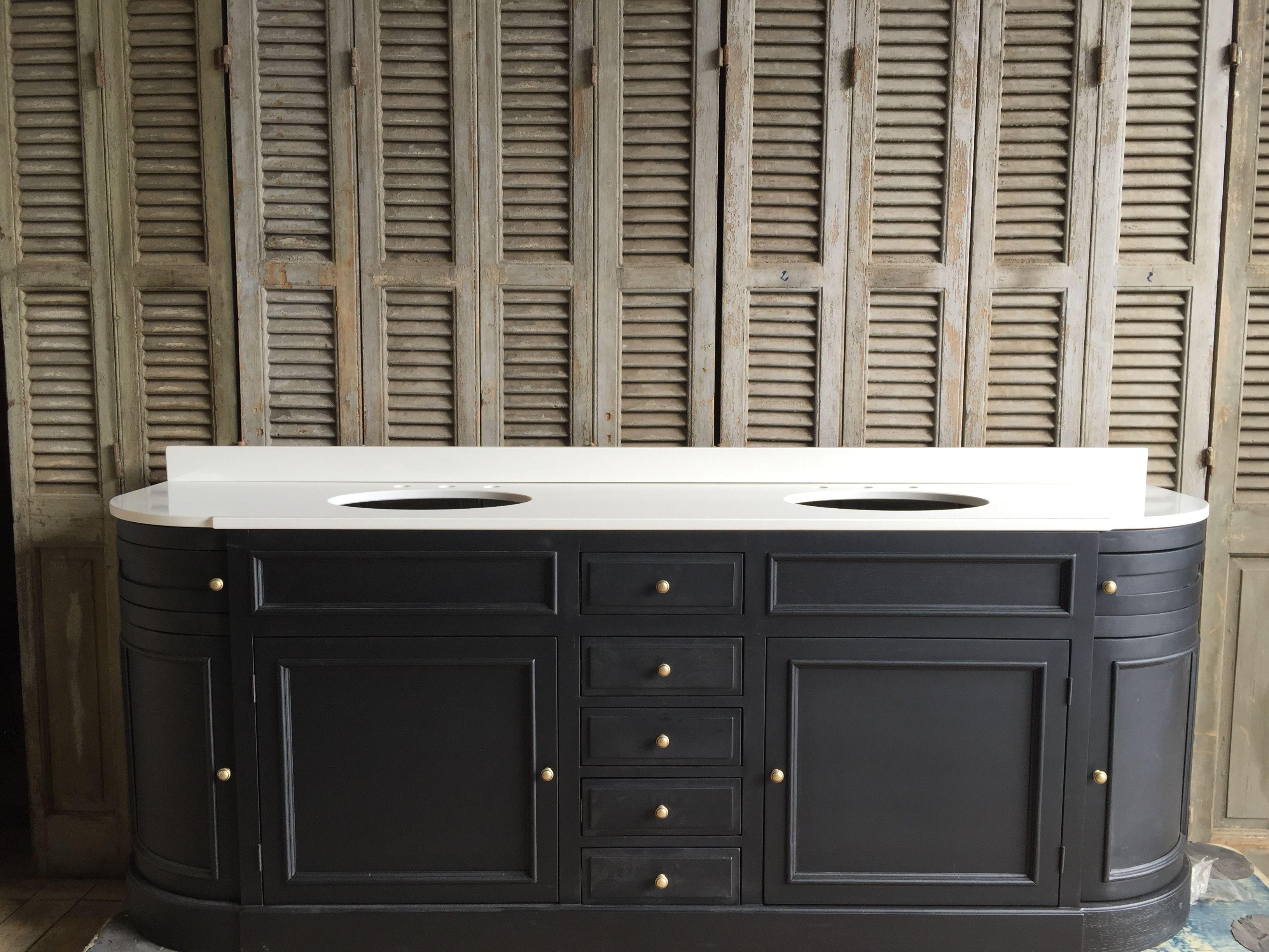 meuble lavabo fabriqué sur mesure ! plateau en pierre reconstitués