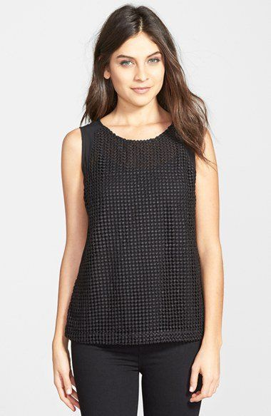 Gibson Sleeveless Embroidered Mesh Front Top | Nordstrom