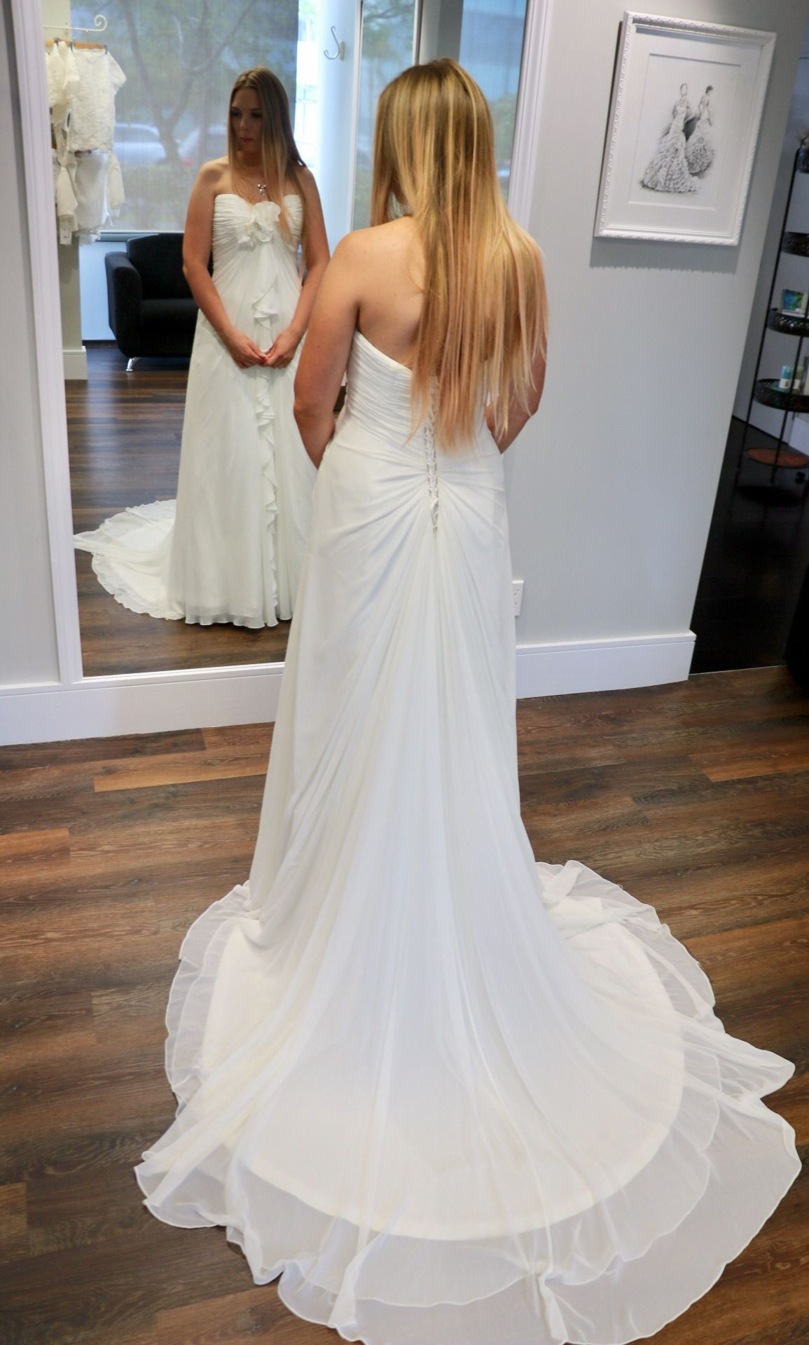 This Gown Features Gossamer Chiffon Ruched And Cleverly Fastened