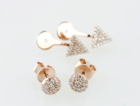 Cubic Zirconia 14k Rose Gold Plated 925 Sterling Silver Spear Ear Jackets w