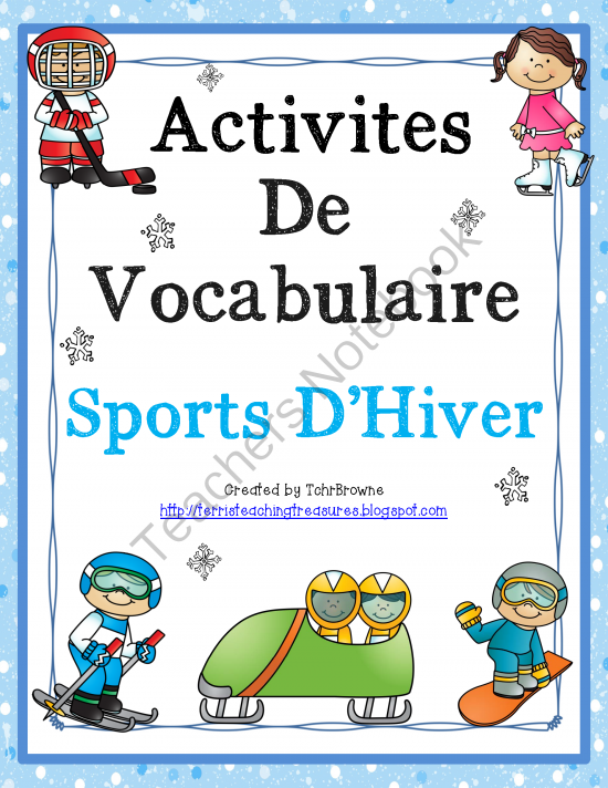 french vocabulary activities winter sports from terri 39 steachingtreasure on teachersnotebook. Black Bedroom Furniture Sets. Home Design Ideas