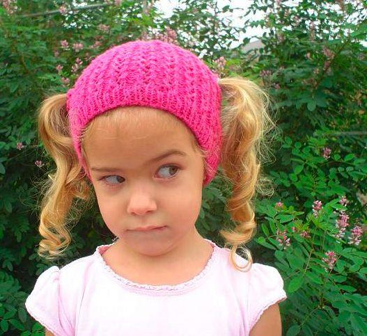 Child Multi-colored Handmade Crochet Ponytail Beanie Small