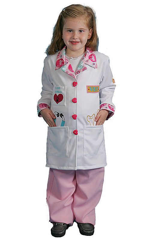 girls kids veterinarian costumes dress up america inspirational cuts medium - Kids Doctor Halloween Costume