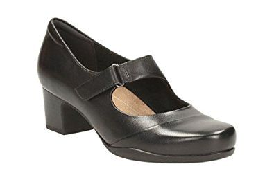 Clarks Women's Mary Janes Block Heel Shoes Rosalyn Wren