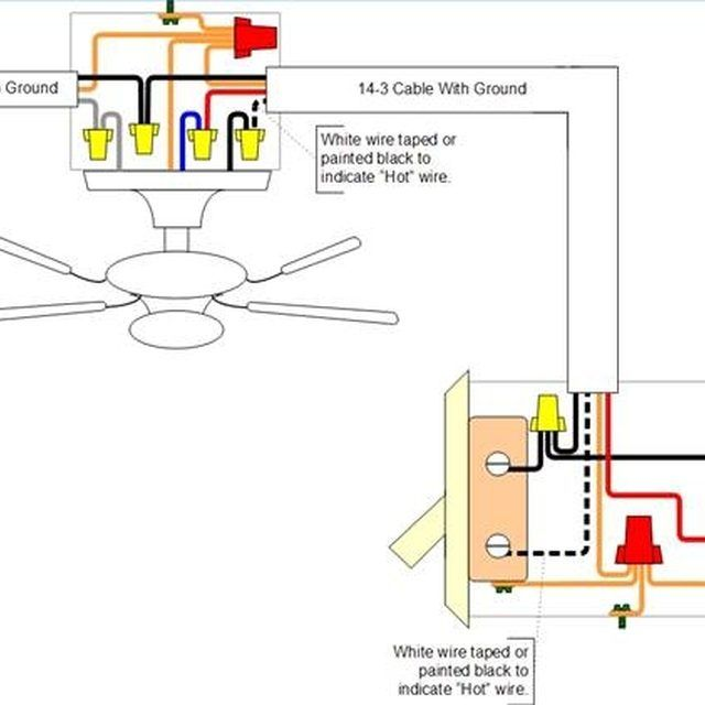 Fan With Two Switches (one for the fan and one for the attached light) - How To Install A Ceiling Fan In A Location Without Existing Power