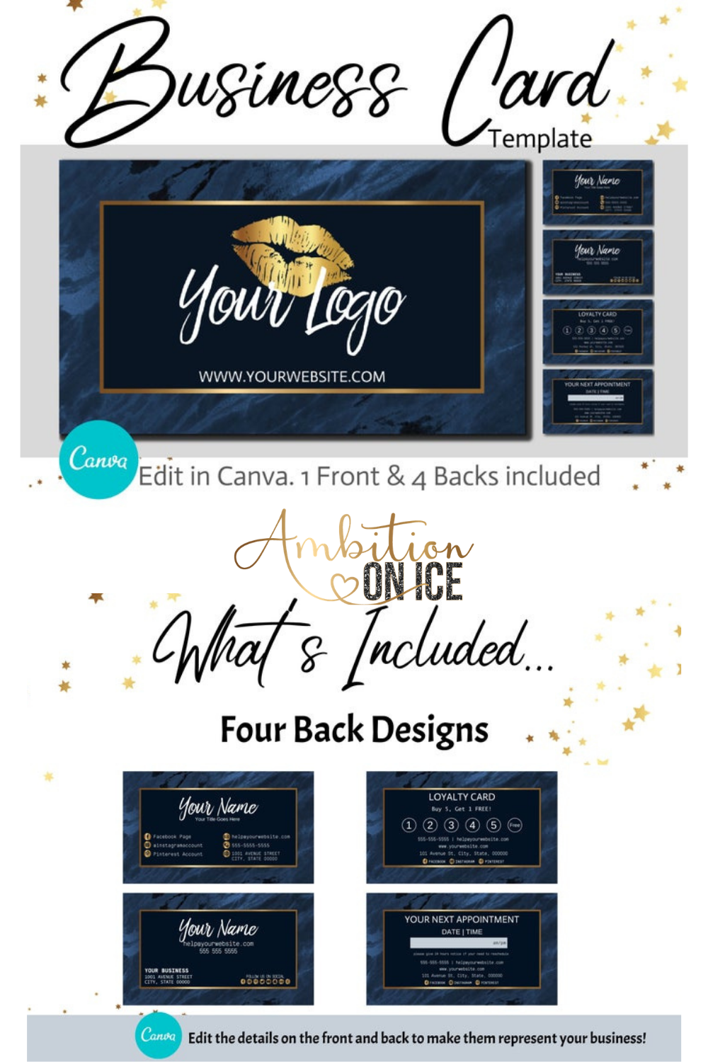 Diy Navy Blue Marble Business Cards Canva Template Gold Business Card Design Appointment Card And Loyalty Card Instant Download In 2020 Sequin Business Cards Diy Branding Business Card Template