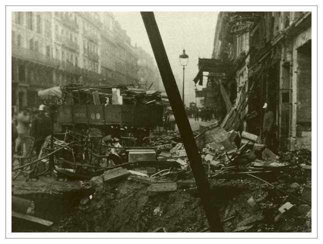 Damage caused by a shell fired by Big Bertha
