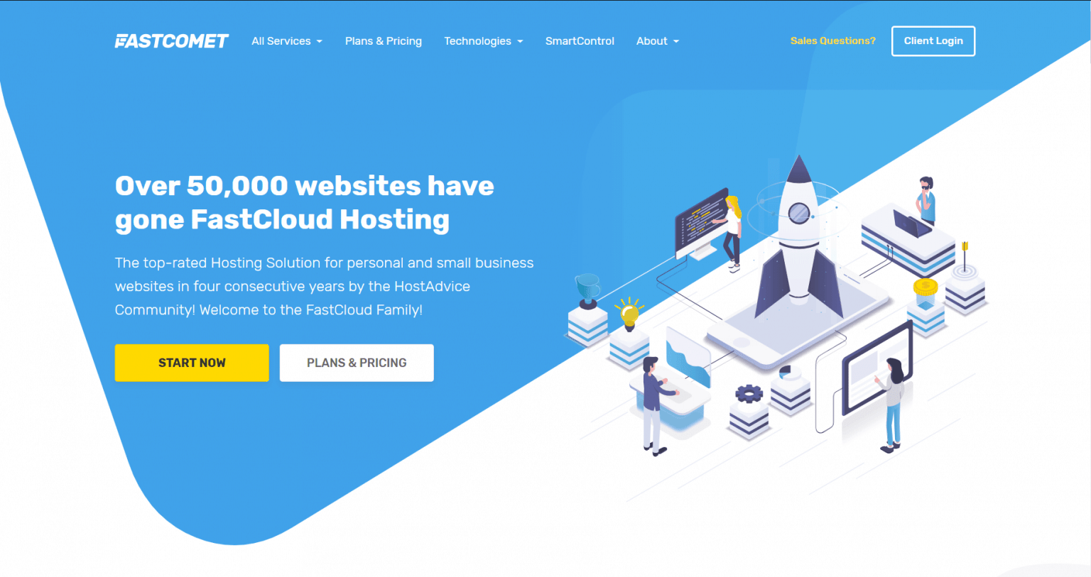 Fastcomet hosting home page