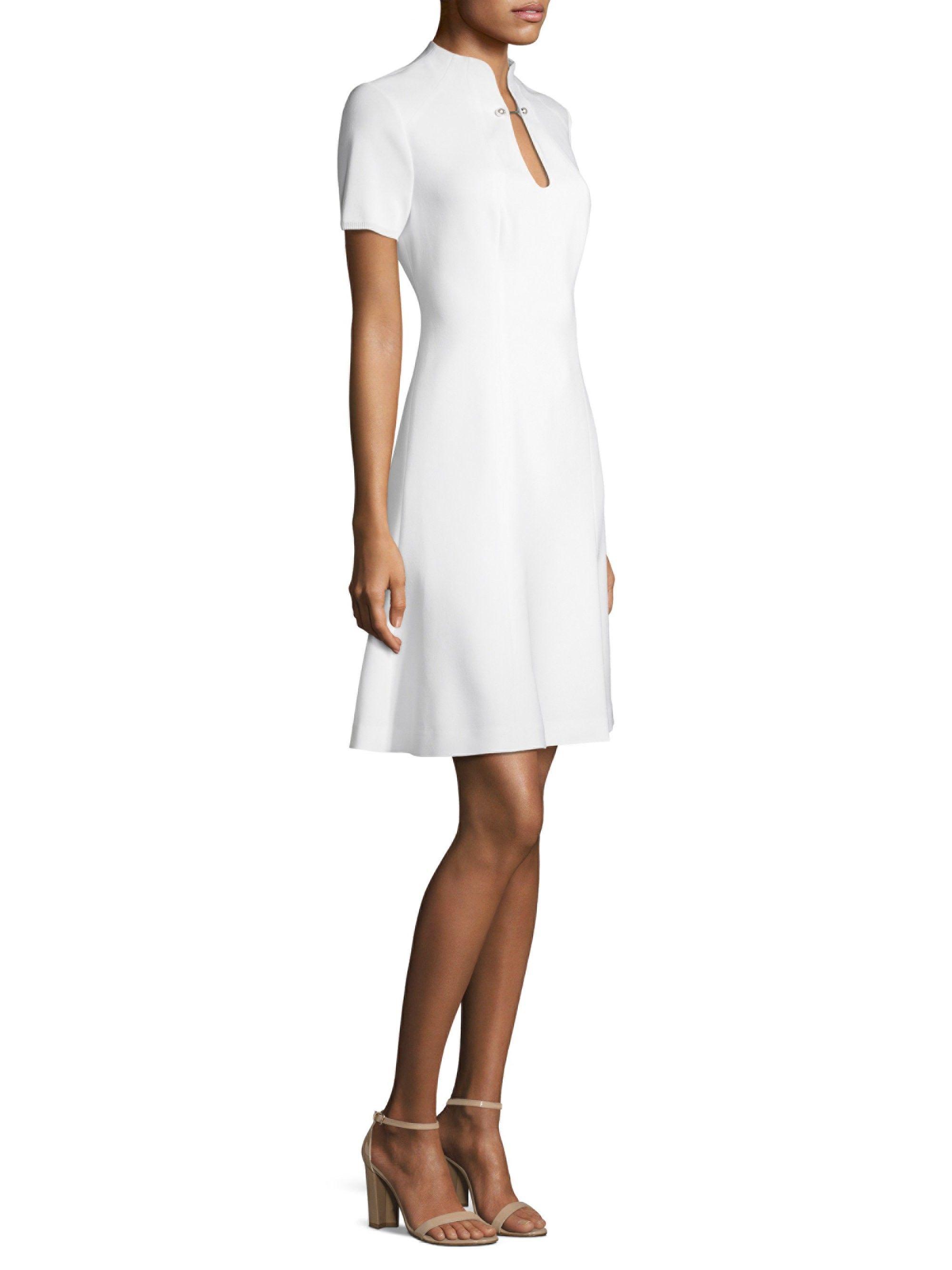 da35a7c6078e Elie Tahari Yuki Hardware Splitneck Flare Dress - Optic White 8 ...