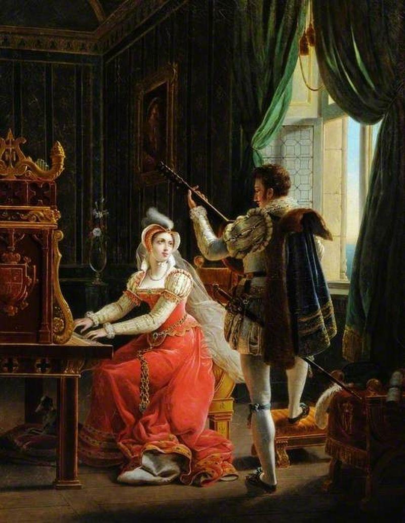 Mary Queen Of Scots And David Rizzio Painting John Rogers Herbert Oil Paintings Art Uk Scots Queen