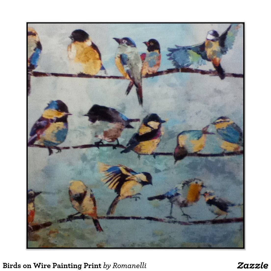 Birds on Wire Painting Print | Painting prints, Bird and Printing