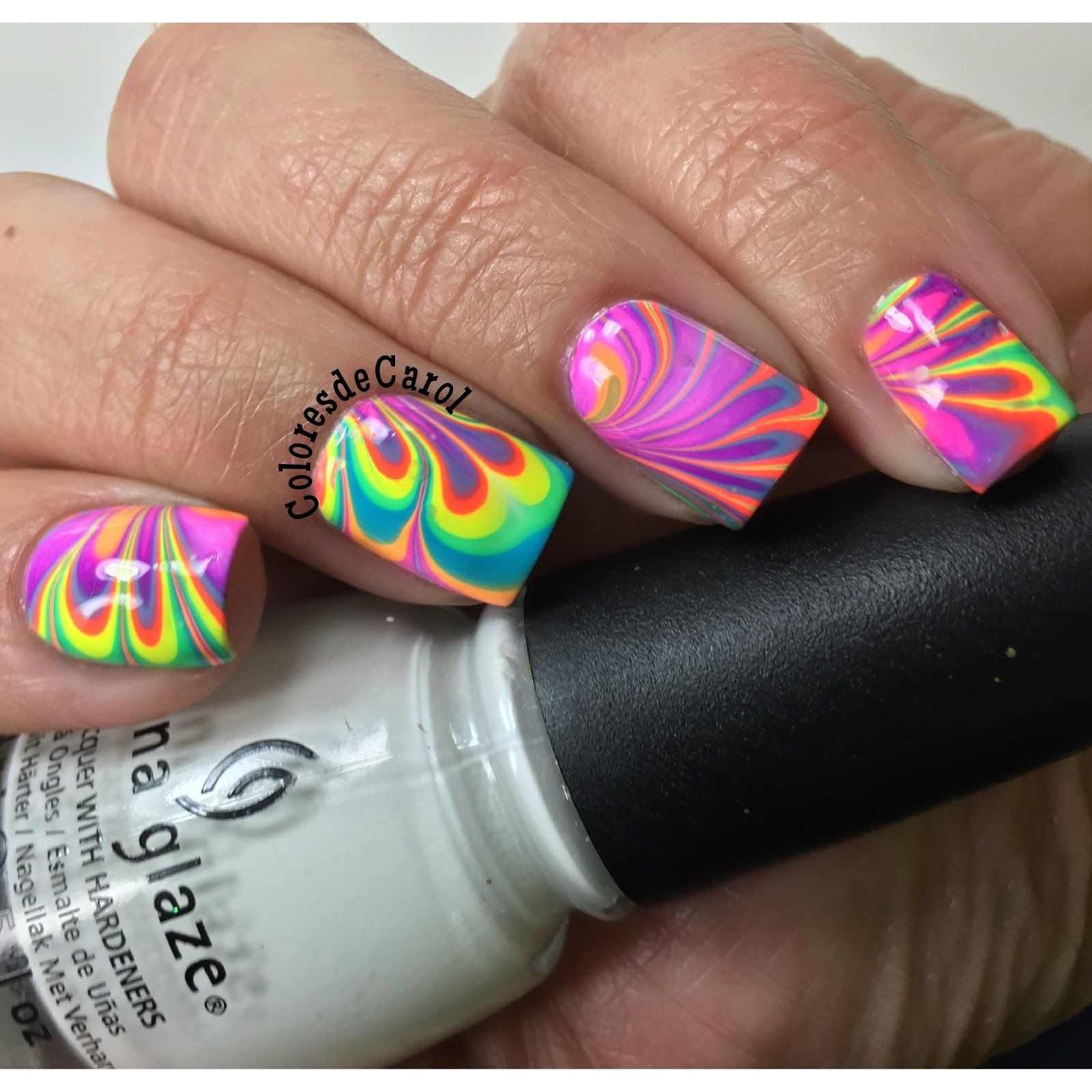 Colores de Carol: China Glaze Electric Nights Water Marble