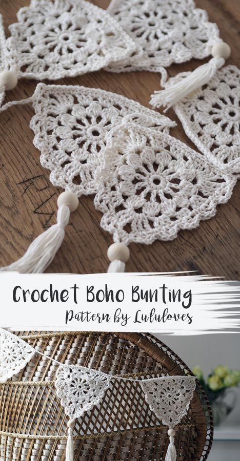 Boho Bunting Häkelanleitung: Lulu liebt Häkelblog – #Blog #Boho #Bunting #Cr … gestrickt ideen – crochet patterns