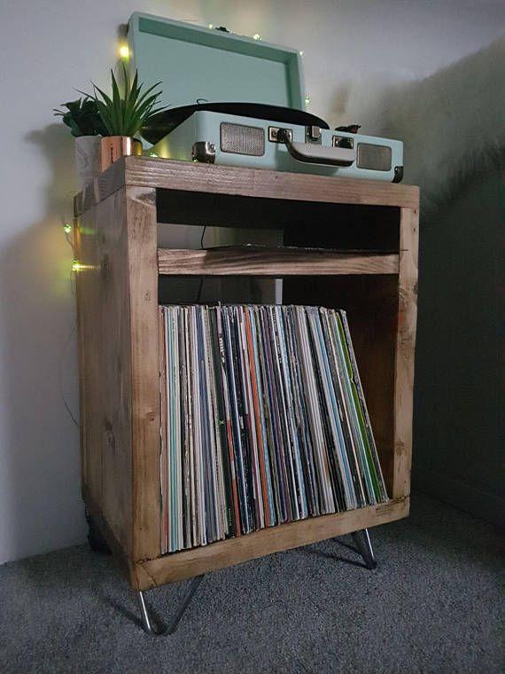 Rustic Industrial Hairpin Leg Scaffold Board Record Player Vinyl