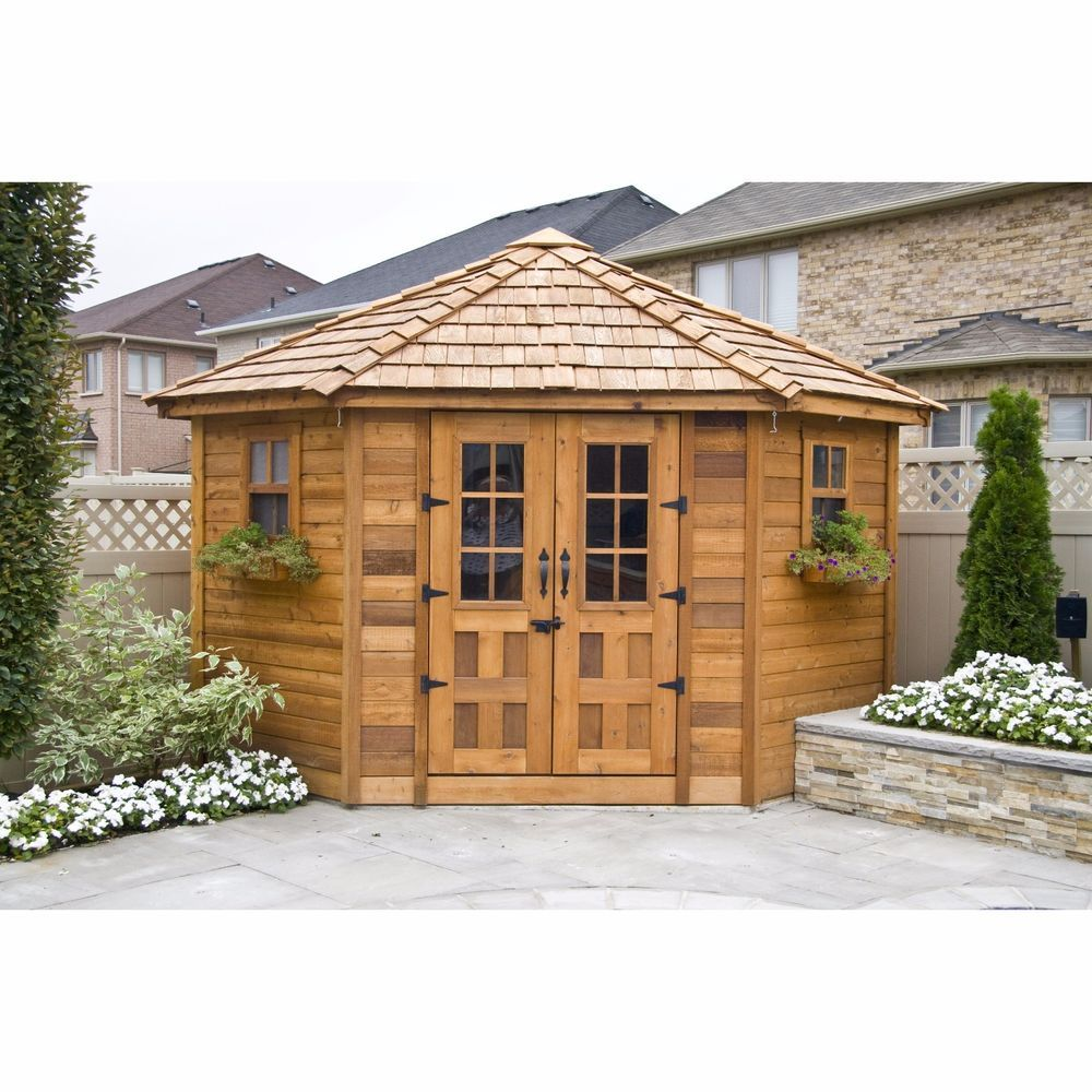 wood garden cabin log 9 x 9 backyard outdoor storage shed patio tools workshop outdoorliving - Garden Sheds With Patio
