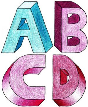 how to draw 3d alphabets