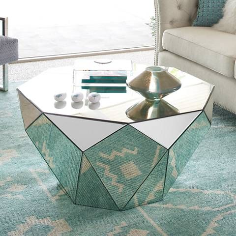 Aviano 35 1 2 Wide Mirrored Modern Octagon Coffee Table 11v11 Lamps Plus Mirrored Coffee Tables Coffee Table Octagonal Coffee Table