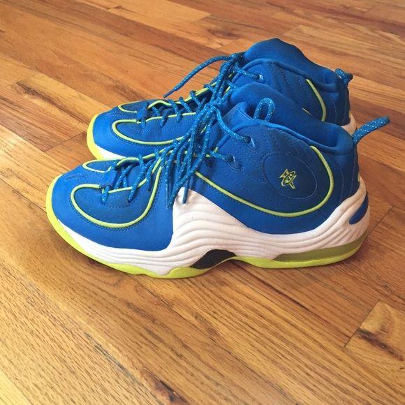 9c84666a4db4 Nike Penny Hardaway foamposite basketball shoe. Blue  amp  lime green Nike  Penny Hardaway foamposite