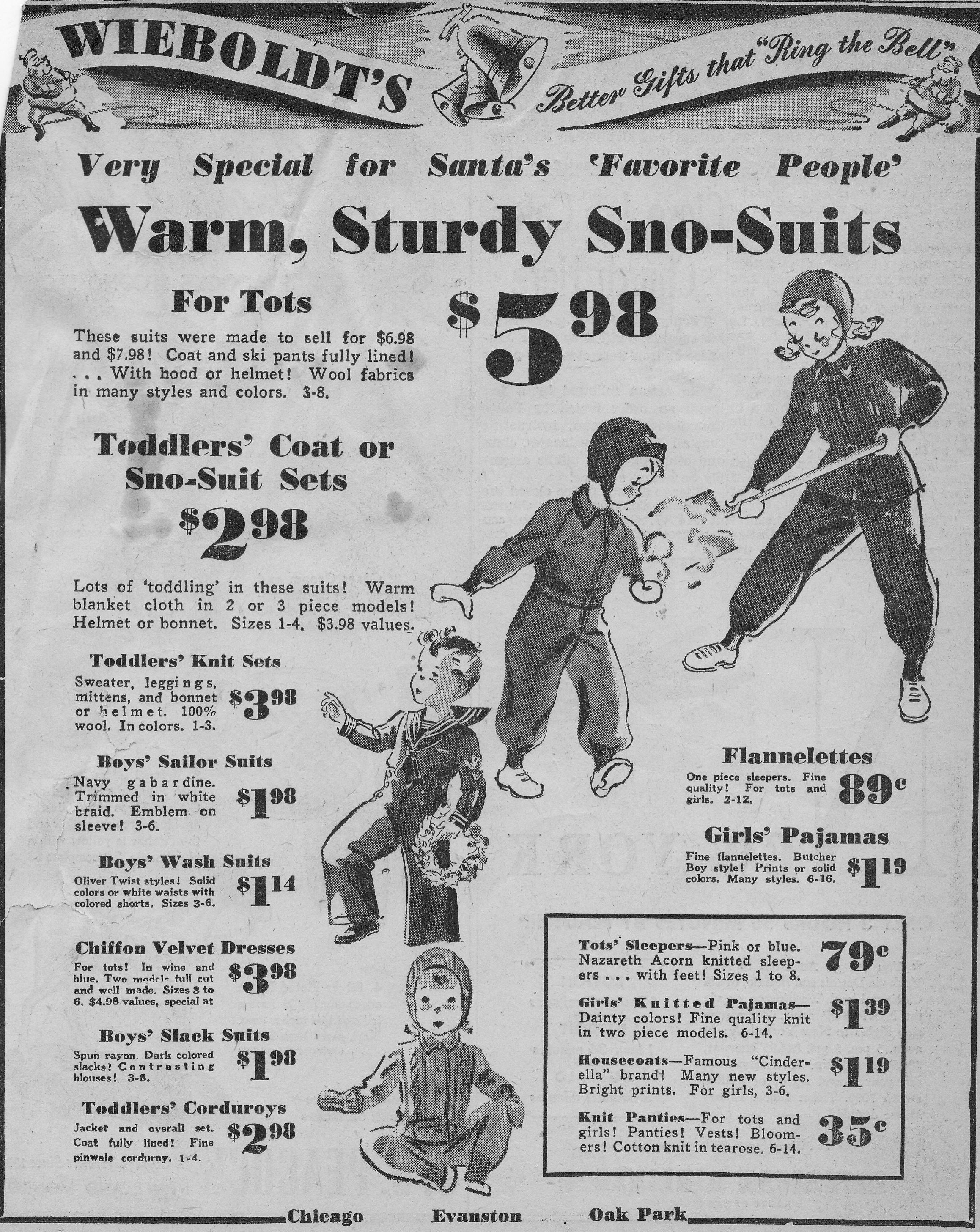 1940\'s Wieboldt\'s Christmas Ad | Vintage Chicago Newspaper Ads ...