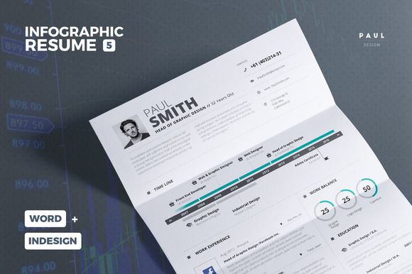 Infographic Resume/Cv Template Vol5 Pinterest Infographic - resume 5 pages