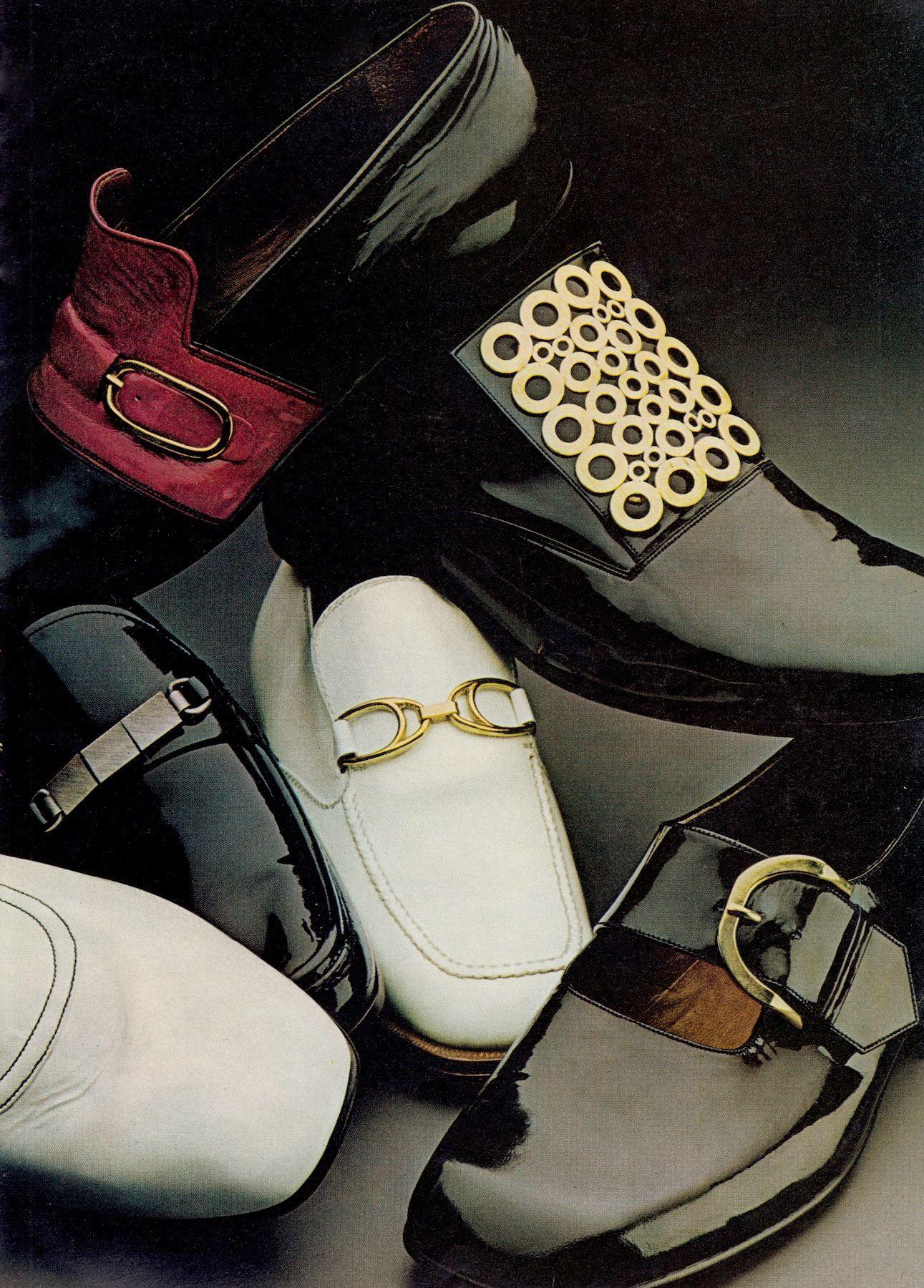 Assorted 60's men's shoes with buckles. From Men in Vogue Autumn-Winter 1969 U.K. (minkshmink)