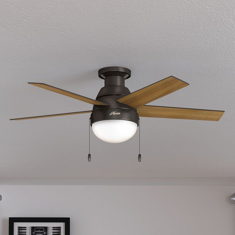 46 anslee 5 blade led flush mount ceiling fan with pull