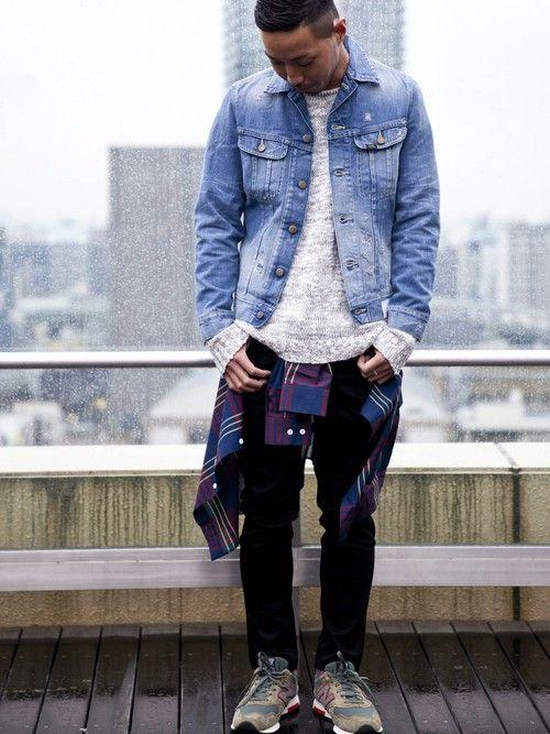 デニムジャケット着こなしメンズ【春】. ファッション2016ストリートファッション