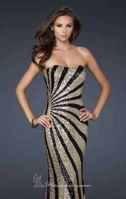 Sequin evening gown by La Femme 17456