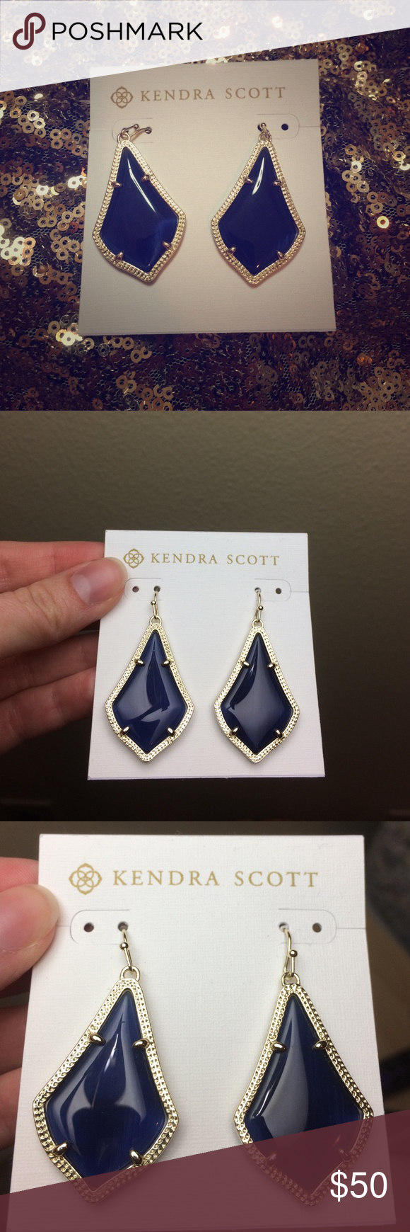 Kendra Scott Alex Earring Beautiful blue/navy Kendra Scott earrings. New, never worn, with all original bags and tags. Navy color (looks darker in the pictures) with gold trim. No trades, only reasonable offers please. Kendra Scott Jewelry Earrings